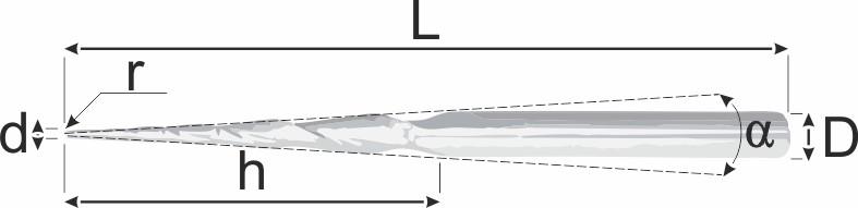 Спиральная фреза FLG 7 градусов для работы с воском. Чертеж фрезы.