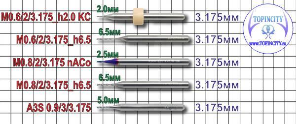 Фрезы для ЧПУ торцевые (пальчиковые) минифрезы диаметр 0.6, 0.79, 0.8мм по металлу HRC65 и др.